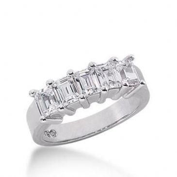 18K Gold Diamond Anniversary Wedding Ring 5 Emerald Cut Diamonds 1.25ctw 145WR48118K
