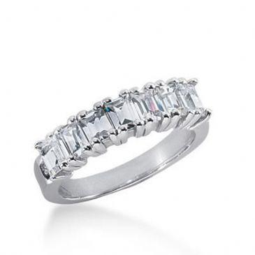 Platinum Diamond Anniversary Wedding Ring 7 Emerald Cut Diamonds 1.75ctw 146WR208PLAT