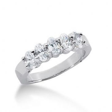 950 Platinum Diamond Anniversary Wedding Ring 5 Oval Shaped Diamonds 1.40ctw 147WR210PLT