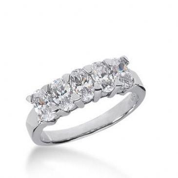 950 Platinum Diamond  Anniversary Wedding Ring 5 Oval Shaped Diamond 1.65ctw 148WR413PLT