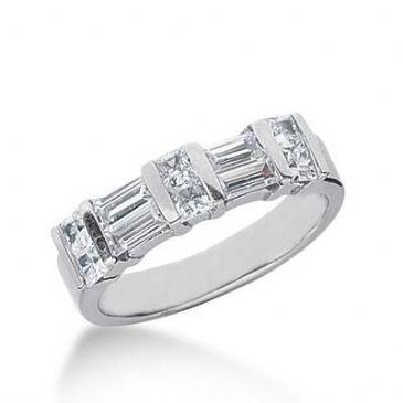18K Gold Diamond Anniversary Wedding Ring 6 Princess Cut Diamonds, 4 Straight Baguette Diamonds 1.16ctw 150WR42218K