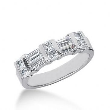 950 Platinum Diamond Anniversary Wedding Ring 6 Princess Cut Diamonds, 4 Straight Baguette Diamonds 1.16ctw 150WR422PLT