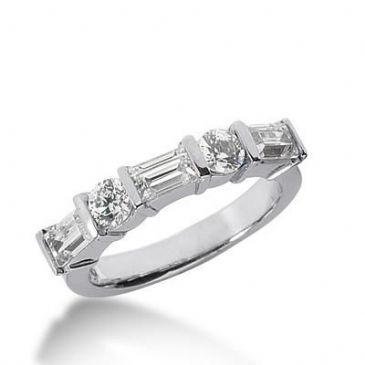 950 Platinum Diamond Anniversary Wedding Ring 2 Round Brilliant Diamonds, 3 Emerald Cut Diamonds 1.30ctw 151WR1916PLT
