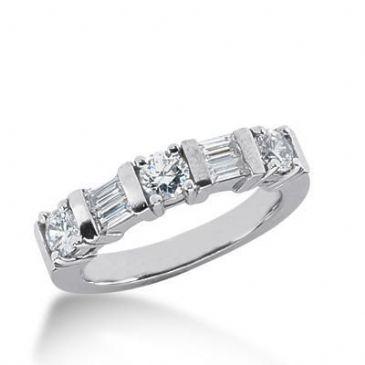 950 Platinum Diamond Anniversary Wedding Ring 3 Round Brilliant Diamonds, 4 Straight Baguette 0.96ctw 152WR498PLT