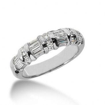 18K Gold Diamond Anniversary Wedding Ring 9 Round Brilliant Diamonds, 12 Emerald Cut Diamond 0.80ctw 153WR167718K