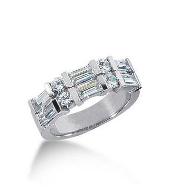 18K Gold Diamond Anniversary Wedding Ring 4 Round Brilliant, 6 Straight Baguette Diamonds 1.86ctw 154WR222818K