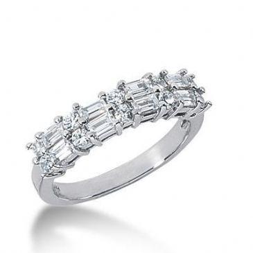 18K Gold Diamond Anniversary Wedding Ring 10 Round Brilliant, 8 Straight Baguette Diamonds 0.86ctw 155WR221218K