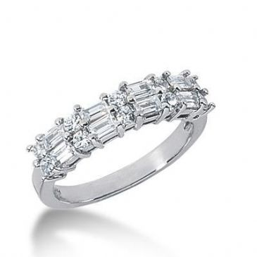 950 Platinum Diamond Anniversary Wedding Ring 10 Round Brilliant, 8 Straight Baguette Diamonds 0.86ctw 155WR2212PLT