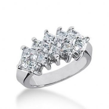 18K Gold Diamond Anniversary Wedding Ring 16 Princess Cut Diamonds 1.60ctw 157WR105918K