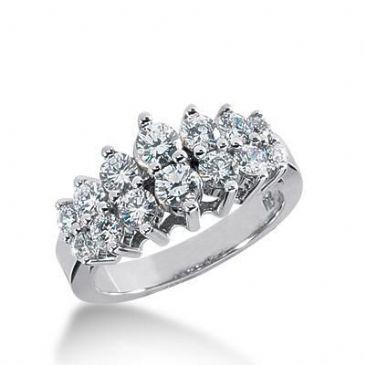 18K Gold Diamond Wedding Ring 14 Round Brilliant Diamonds 1.10ctw 161WR175718K