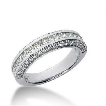18K Gold Diamond Anniversary Wedding Ring 16 Princess Cut, 40 Round Brilliant Diamonds 1.20ctw 162WR65518K