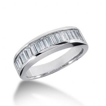 18K Gold Diamond Anniversary Wedding Ring 13 Straight Baguette Diamonds 1.04ctw 163WR47018K