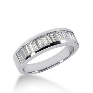 18K Gold Diamond Anniversary Wedding Ring 17 Straight Baguette Diamonds 1.19ctw 164WR49018K