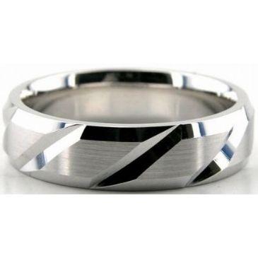 Platinum 950 6mm Diamond Cut Wedding Band 696