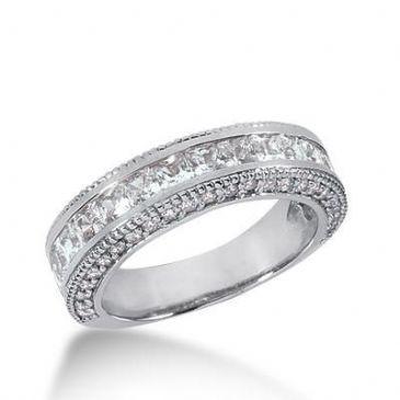 18K Gold Diamond Anniversary Wedding Ring 17 Princess Cut, 46 Round Brilliant Diamonds 2.16ctw 166WR67718K