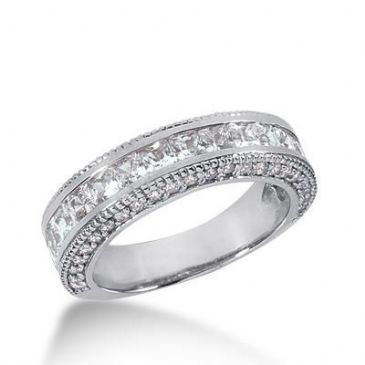 950 Platinum Diamond Anniversary Wedding Ring 17 Princess Cut, 46 Round Brilliant Diamonds 2.16ctw 166WR677PLT