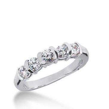 18K Gold Diamond Anniversary Wedding Ring 5 Round Brilliant Diamonds 1.25ctw 167WR187918K