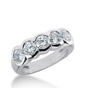 950 Platinum Diamond Anniversary Wedding Ring 5 Round Brilliant Diamonds 1.50ctw 168WR1109PLT