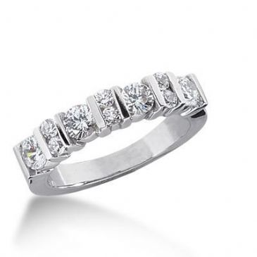 950 Platinum Diamond Anniversary Wedding Ring 10 Round Brilliant Diamonds 0.98ctw 170WR1321PLT