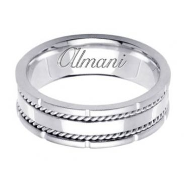 950 Platinum 7mm Handmade Wedding Ring 160 Almani