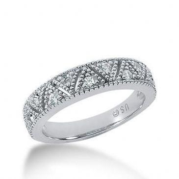 18K Gold Diamond Anniversary Wedding Ring 11 Round Brilliant Diamonds 0.22ctw 172WR57318K