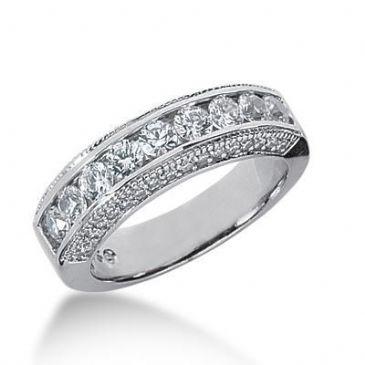 18K Gold Diamond Anniversary Wedding Ring 43 Round Brilliant Diamonds 1.24ctw 174WR68318K