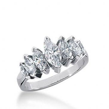 18K Gold Diamond Anniversary Wedding Ring 7 Marquise Shaped Diamonds 1.45ctw 177WR34218K