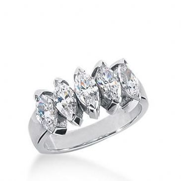 18K Gold Diamond Anniversary Wedding Ring 5 Marquise Shaped Diamonds 1.85ctw 178WR32918K