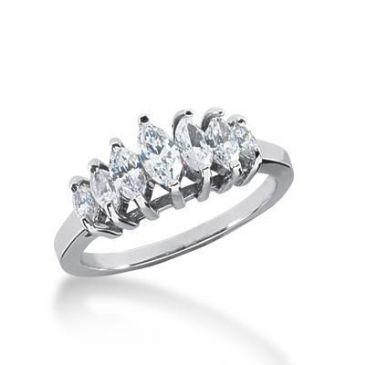 18K Gold Diamond Anniversary Wedding Ring 7 Marquise Shaped Diamonds 0.97ctw 180WR106318K