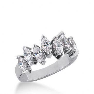 18K Gold Diamond Anniversary Wedding Ring 7 Marquise Shaped Diamonds 1.40ctw 181WR35018K