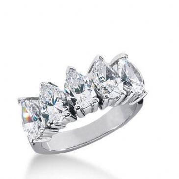18K Gold Diamond Anniversary Wedding Ring 5 Pear Shaped Diamonds 2.50ctw 182WR37218K