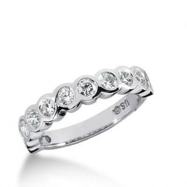 18K Gold Diamond Anniversary Wedding Ring 11 Round Brilliant Diamond 0.88ctw 183WR140318K