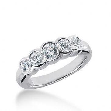 950 Platinum Diamond Anniversary Wedding Ring 5 Round Brilliant Diamonds 0.95ctw 184WR1861PLT