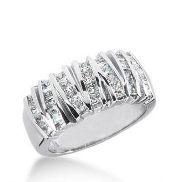 18K Gold Diamond Anniversary Wedding Ring 28 Princess Cut Diamonds 1.40ctw 187WR142918K