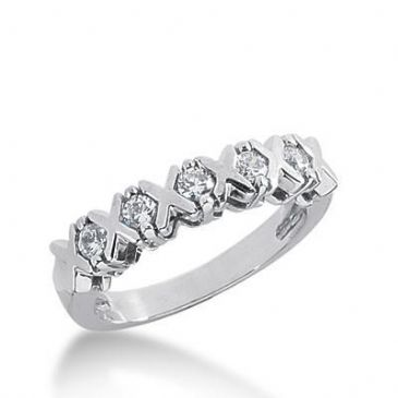 18K Gold Diamond Anniversary Wedding Ring 5 Round Brilliant Diamonds 0.35ctw 189WR137318K