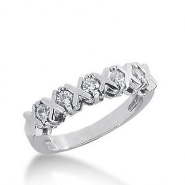18K Gold Diamond Anniversary Wedding Ring 5 Round Brilliant Diamonds 0.35ctw 189WR137318K