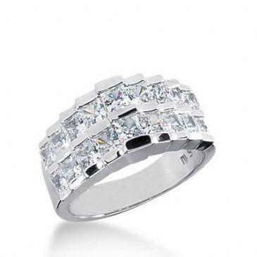 18K Gold Diamond Anniversary Wedding Ring 18 Princess Cut Diamonds 3.06ctw 191WR158118K