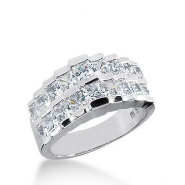 950 Platinum Diamond Anniversary Wedding Ring 18 Princess Cut Diamonds 3.06ctw 191WR1581PLT
