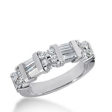 950 Platinum Diamond Anniversary Wedding Ring 12 Round Brilliant, 6 Straight Baguette Diamonds 0.96ctw 192WR1849PLT