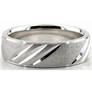 Platinum 950 6.5mm Diamond Cut Wedding Band 619