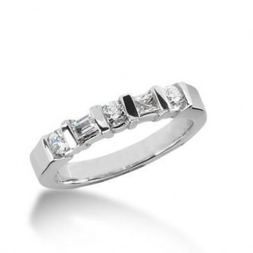 18K Gold Diamond Anniversary Wedding Ring 3 Round Brilliant, 2 Straight Baguette Diamonds 0.48ctw 194WR148918K