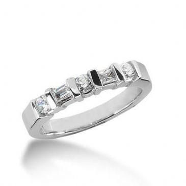 950 Platinum Diamond Anniversary Wedding Ring 3 Round Brilliant, 2 Straight Baguette Diamonds 0.48ctw 194WR1489PLT