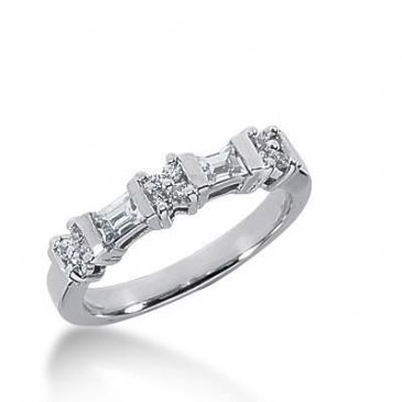 18K Gold Diamond Anniversary Wedding Ring 12 Round Brilliant, 2 Straight Baguette Diamonds 0.48ctw 195WR159718K