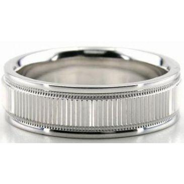 Platinum 950 6.5mm Diamond Cut Wedding Band 613