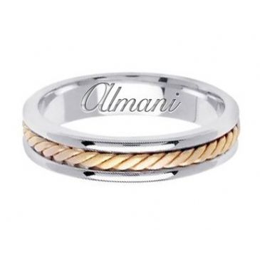 14k Gold 5mm Handmade Two Tone Wedding Ring 122 Almani