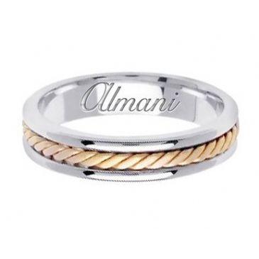 18k Gold 5mm Handmade Two Tone Wedding Ring 122 Almani