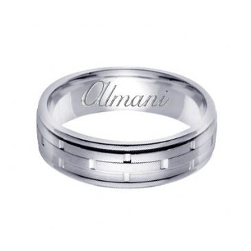 18k Gold 6.5mm Handmade Wedding Ring 123 Almani