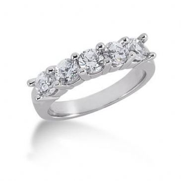 950 Platinum Diamond Anniversary Wedding Ring 5 Round Brilliant Diamonds 1.25ctw 196WR135PLT