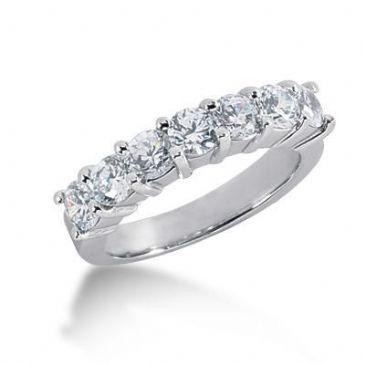 18K Gold Diamond Anniversary Wedding Ring 7 Round Brilliant Diamonds 2.10ctw 197WR46018K