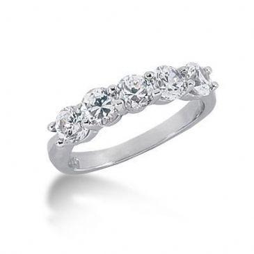 950 Platinum Diamond Anniversary Wedding Ring 5 Round Brilliant Diamonds 1.50ctw 198WR615PLT